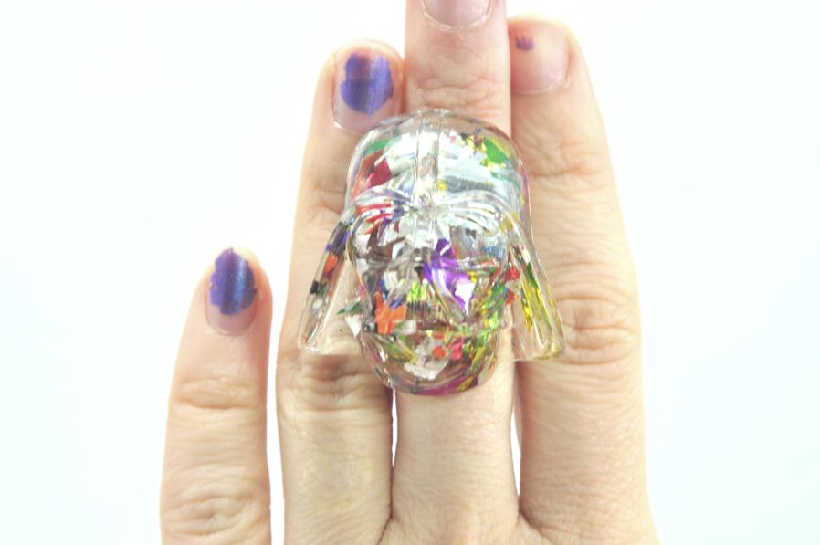 Rainbow Glitter Darth Vader Ring