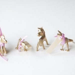 Glided animals with place cards