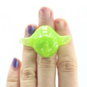 Green Glittery Yoda Ring