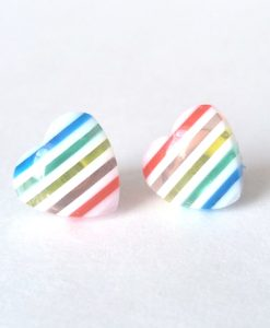 Heart Earrings with Rainbow Stripes & White Stripes