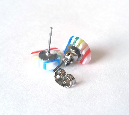 Rainbow Striped Heart Earrings