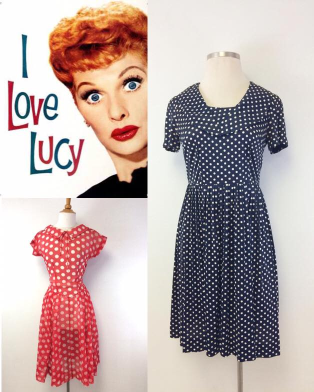 vintage polka dot dresses in red and blue | lucille ball 1950 style dresses
