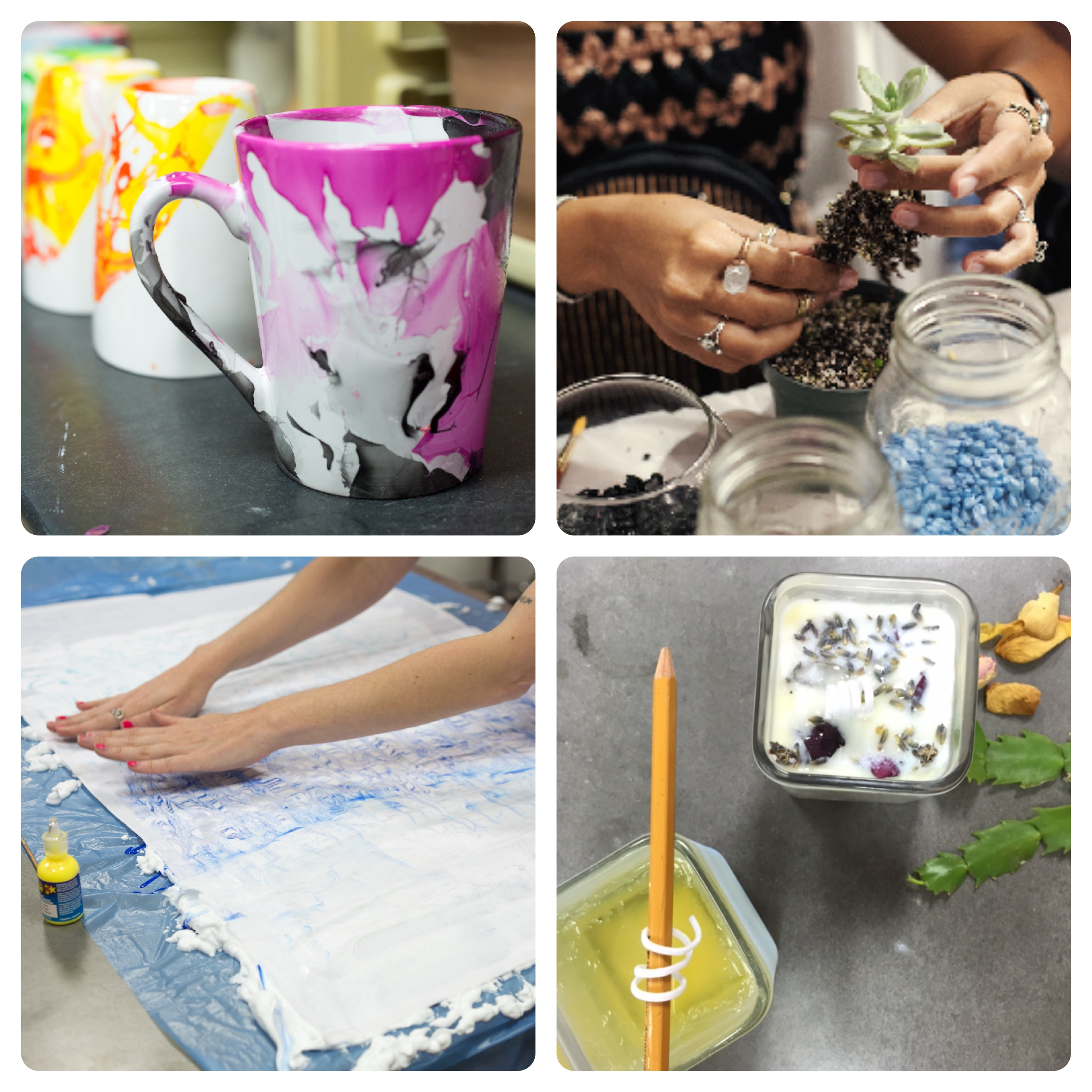 craft classes and art workshops collage from pop shop america