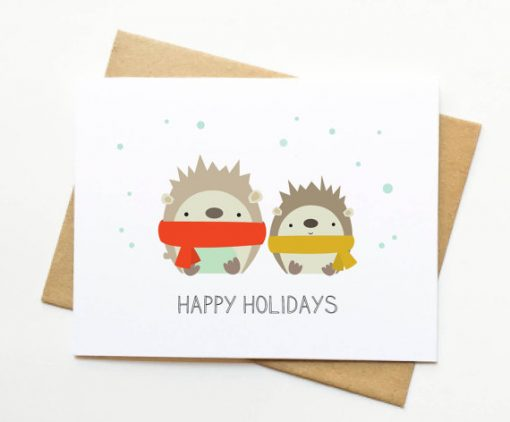 cute hedgehogs in sweaters holiday card