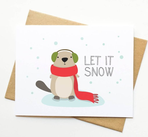 let it snow otter card | Shop Handmade Cards by Le Trango at Pop Shop America