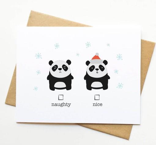 naughty or nice panda holiday card