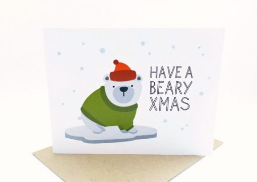beary x mas card with cute bear | illustrated handmade cards