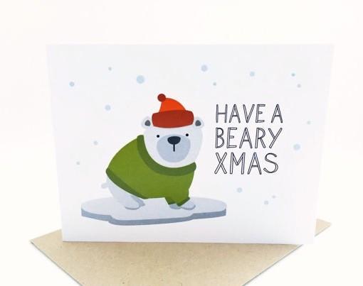 beary x mas card with cute bear | illustrated handmade cards