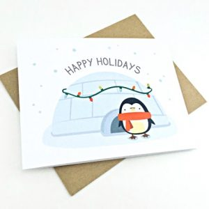 cute penguin holiday card | handmade cards by le trango | shop handmade goods at pop shop america
