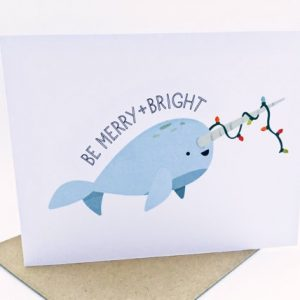 narwhal christmas card 1 | nerdy cards | handmade cards by Le Trango