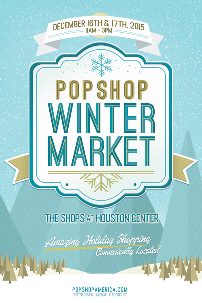pop shop winter market poster | craft fairs houston | houston shopping events | holiday events downtown houston