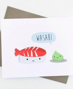 wasabi and sushi card | hand illustrated cards by Le Trango | unique cute greeting cards | kawaii style