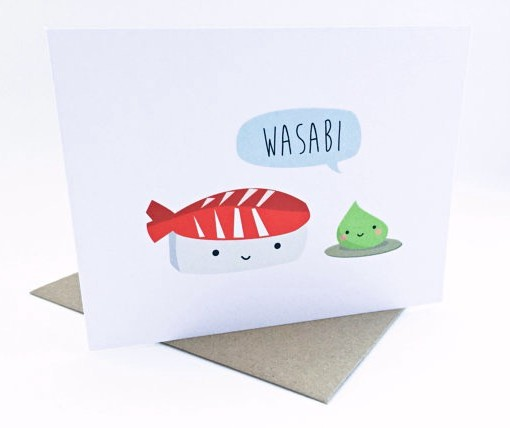 wasabi and sushi card | handmade greeting cards | kawaii style cards | handmade by le trango