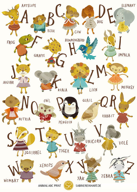 alphabet art print nursery prints by sabine reinhart | animals and alphabet | art at Pop Shop America