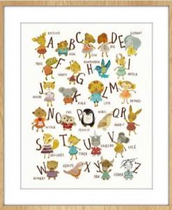 alphabet print in frame nursery art prints by sabine reinhart | animals art | shop animal prints at Pop Shop America