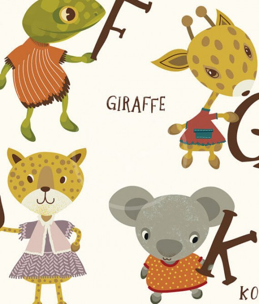 another detail of alphabet with animals animal art print | art for kids at Pop Shop America