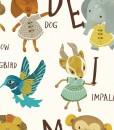 detail of alphabet art print | detail of animals holding letters | art for kids | learn the alphabet art at Pop Shop America