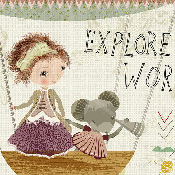 detail of explore the world sabine reinhart print | detail of girl and mouse in a hot air balloon | illustrated art by sabine reinhart | nursery art at Pop Shop America