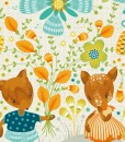 detail of someone loves you print | detail of deer and flowers | woodland creatures art | art by sabine reinhart