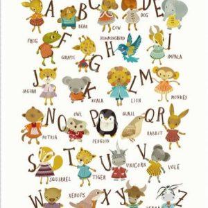 full alphabet kids art print nursery prints | alphabet art with cute animals | Shop Handmade Nursery Items | Shop Handmade Kids at Pop Shop America