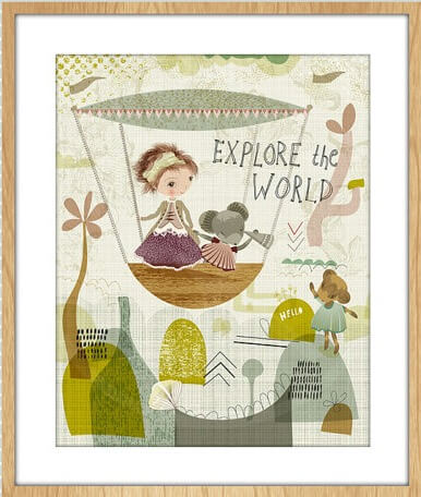 girl and mouse explore kids print floral art print | Modern Arts and Crafts available for purchase at Pop Shop America Online Boutique