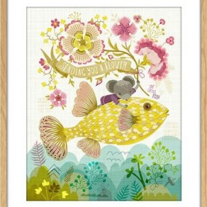 magical fish art print flying fish | art by sabine reinhart | nursery prints | handmade goods available at Pop Shop America Online Boutique