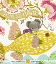 sending you a flower flying fish art print   mouse riding a fish   yellow fish art print   shop art at Pop Shop America