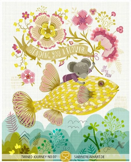 sending you a flower full print | Nursery prints with fish | floral art prints by sabine reinhart | art and other handmade goods available for purchase at Pop Shop America