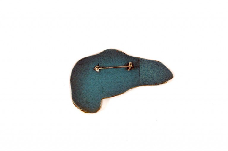 back-of-velociraptor-dinosaur-brooch |Handmade Leather Jewelry at Pop Shop America