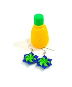 blue-and-green-origami-star-earrings-with-pineapple