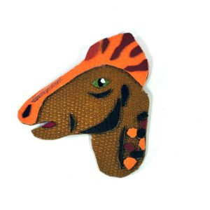 corythosaurus-dinosaur-brooch-1 | Leather Dinosaur Brooch by Jason Villegas