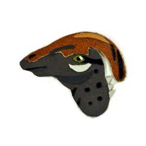 front-of-gray-brown-hadrosaur-dinosaur-brooch | handmade leather dino accessories