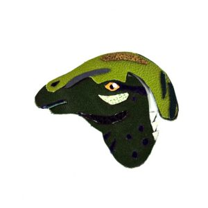 hadrosaur-leather-brooch-1 | Dinosaur Brooch in Handmade Leather by Artist Jason Villegas | Shop at Pop Shop America Online Boutique