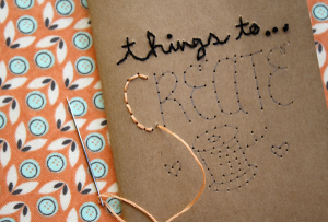 hand embroidered notebook from molly makes | art classes houston