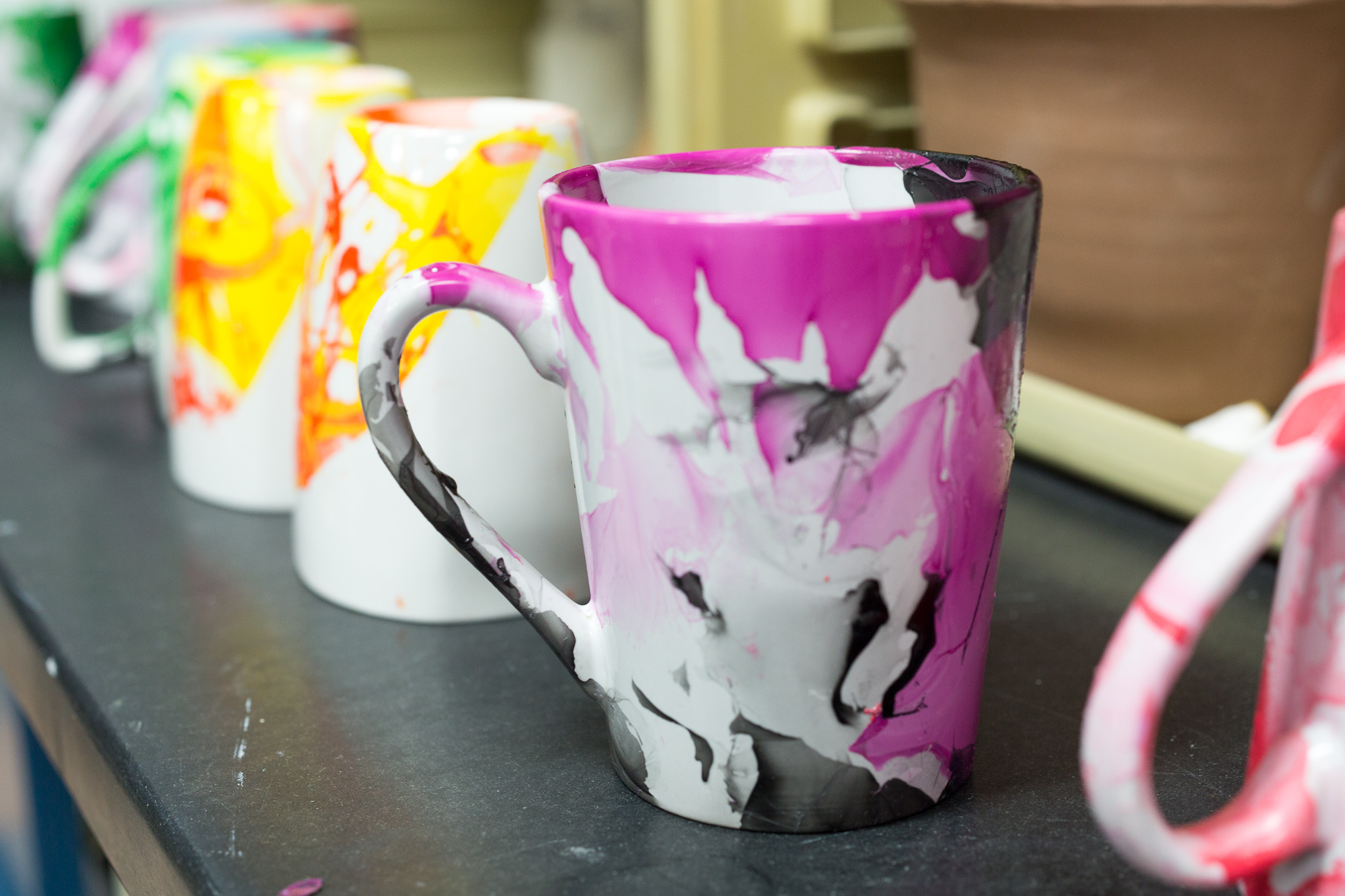 marbled mugs diy craft classes at Pop Shop America