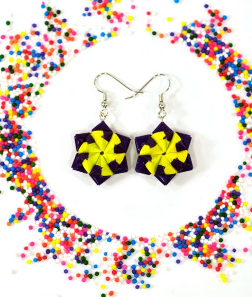 origami-star-earrings-in-purple-and-yellow