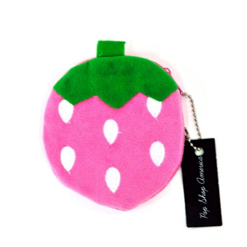 pink-plain-strawberry-coin-purse | pink strawberry coin purse