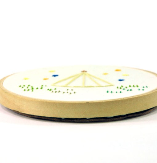 side-of-handmade-teepee-embroidery-hoop | Shop Art at Pop Shop America Online Boutique
