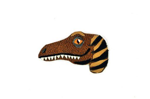 velociraptor-dinosaur-brooch-by-jason-villegas-1 Handmade Leather Accessories | Dino Jewelry at Pop Shop America Handmade Boutique