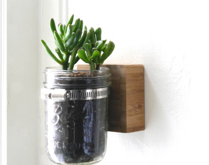 wall mounted mason jar