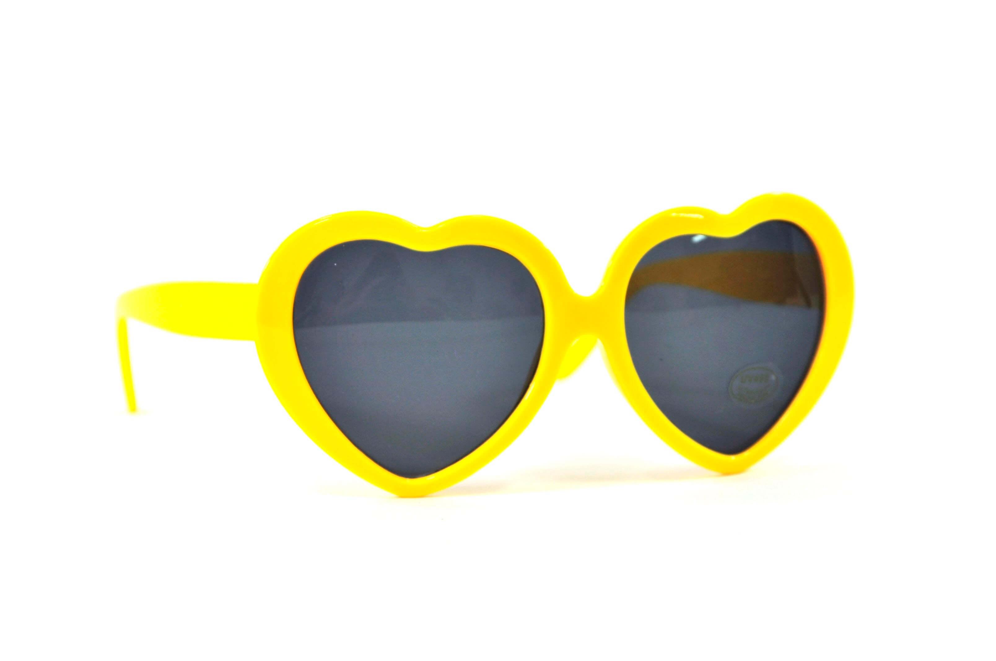 Shop America yellow heart sunglasses | rainbow heart sunglasses | summer