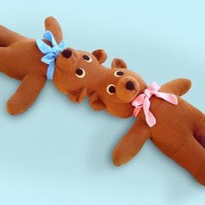 Patricia Waller Twins Teddy Bear Sculpture Lowbrow Textile Art on the Pop Shop America blog