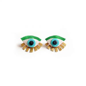 Eye Ear Jacket Earring Seeing Eye Geometric Earrings Illuminati Jewelry Green and Gold Earrings