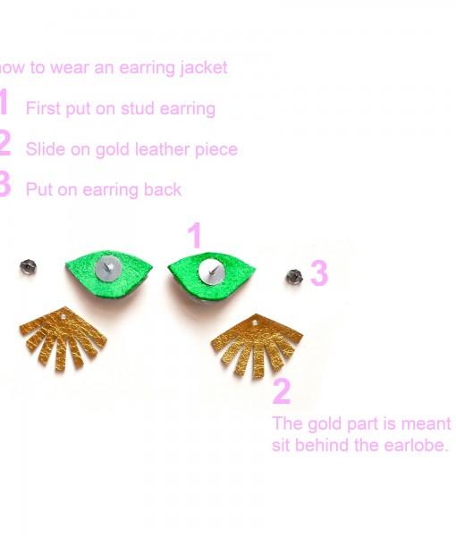 Eye Ear Jacket Earring Seeing Eye Geometric Earrings Illuminati Jewelry Green and Gold Earrings