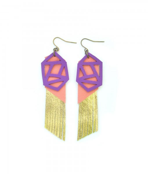 Fringe Leather Earrings Geometric Earrings Gold Metallic Earrings Purple and Peach Earrings