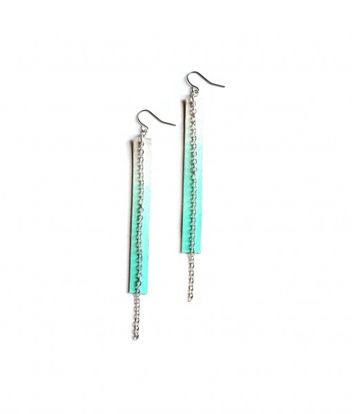 Long Mint Geometric Teal and White Ombre Chain Earrings
