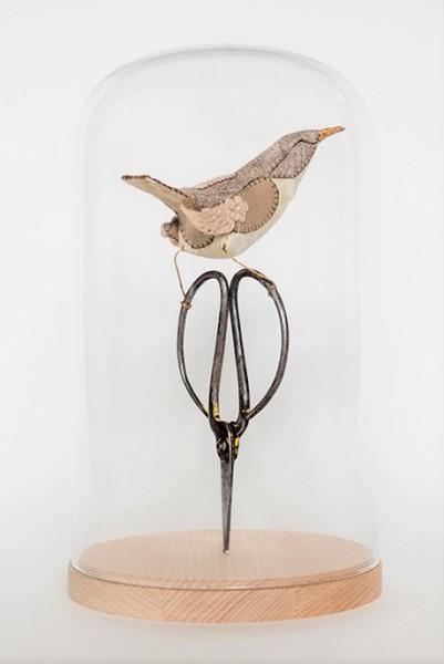 Lauren Porter Sculpture Scissors and Bird Under Glass | Textile Art UK