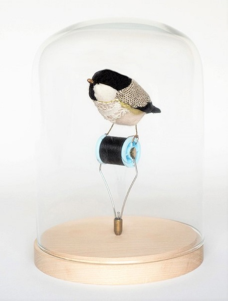 Bird with Spool of Thread and Lightbulb | Lauren Porter Art