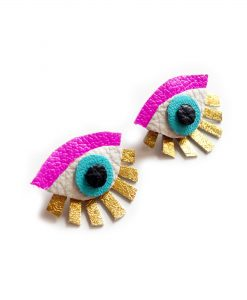Neon Eye Ear Jacket Earring Seeing Eye Geometric Earrings Illuminati Jewelry Hot Pink and Gold Earrings