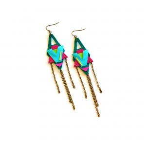 Neon Leather Earrings Color Block Tribal Motifs